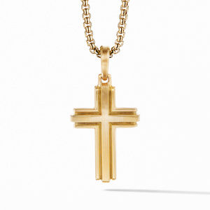 Deco Cross Pendant in 18K Yellow Gold