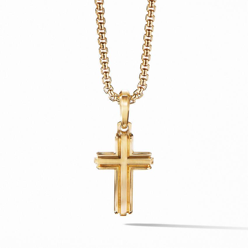Deco Cross Pendant in 18K Yellow Gold
