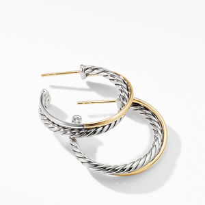 Crossover Medium Hoop Earrings with 18K Yellow Gold alternative image