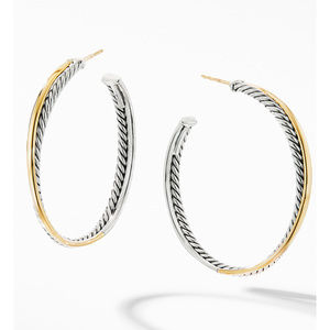 Crossover XL Hoop Earrings with 18K Yellow Gold