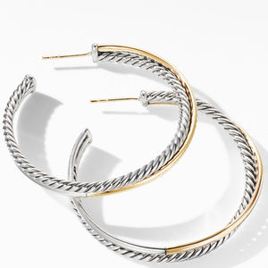 Crossover XL Hoop Earrings with 18K Yellow Gold alternative image