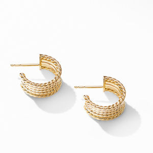 DY Origami Cable Huggie Hoops in 18K Yellow Gold alternative image