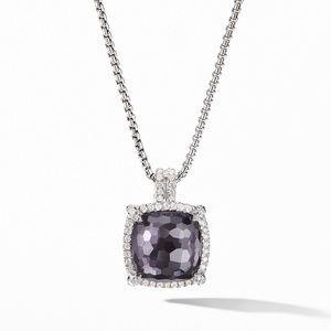 Chatelaine® Pavé Bezel Pendant Necklace with Black Orchid