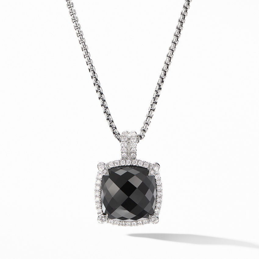 Chatelaine® Pavé Bezel Pendant Necklace with Black Onyx