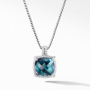 Chatelaine® Pavé Bezel Pendant Necklace with Hampton Blue Topaz