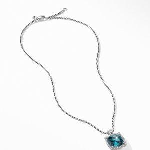 Chatelaine® Pavé Bezel Pendant Necklace with Hampton Blue Topaz alternative image