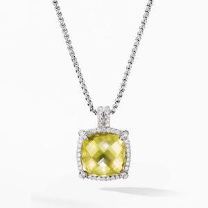 Chatelaine® Pavé Bezel Pendant Necklace with Lemon Citrine