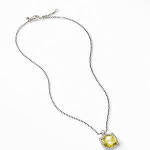 Chatelaine® Pavé Bezel Pendant Necklace with Lemon Citrine alternative image