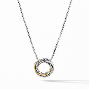 Crossover Mini Pendant Necklace with 18K Yellow Gold