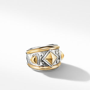 Bold Renaissance Wide Ring with 18K Yellow Gold