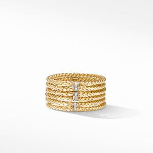 DY Origami 6-Row Cable Ring in 18K Yellow Gold with Diamonds alternative image