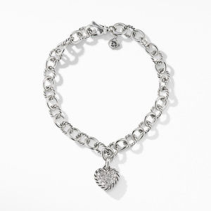Cable Cookie Classic Heart Charm Bracelet  with Diamonds alternative image