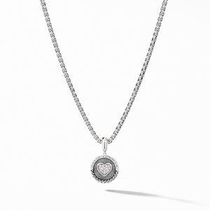 Heart Charm Pendant with Pavé Diamonds