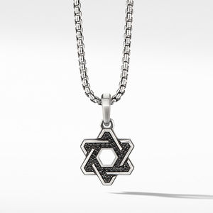 Deco Star of David Pendant with Pavé Black Diamonds