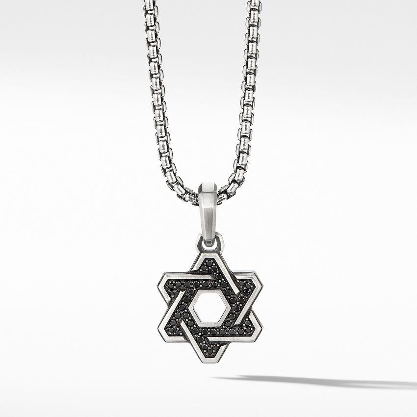 Deco Star of David Pendant with Pavé Black Diamonds