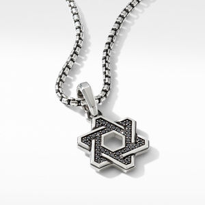 Deco Star of David Pendant with Pavé Black Diamonds alternative image