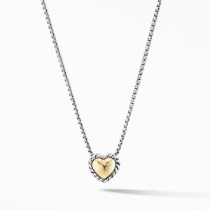 Cable Cookie Classic Heart Necklace with 18K Yellow Gold