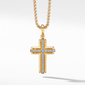 Deco Cross Pendant in 18K Yellow Gold with Pavé Diamonds