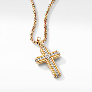 Deco Cross Pendant in 18K Yellow Gold with Pavé Diamonds alternative image