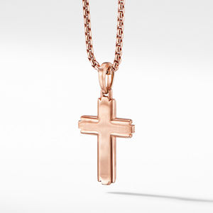 Deco Cross Pendant in 18K Rose Gold with Pavé Cognac Diamonds alternative image