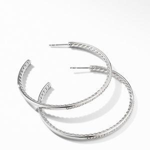 Large Hoop Earrings with Pavé Diamonds alternative image