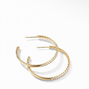 Medium Hoop Earrings in 18K Yellow Gold with Pavé Diamonds alternative image