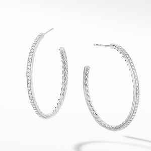 Medium Hoop Earrings with Pavé Diamonds
