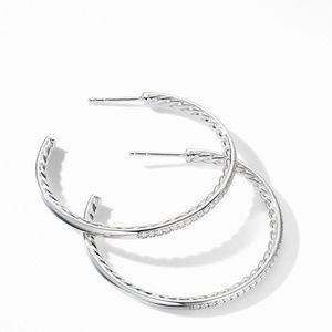 Medium Hoop Earrings with Pavé Diamonds alternative image