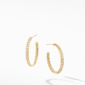 Small Hoop Earrings in 18K Yellow Gold with Pavé Diamonds