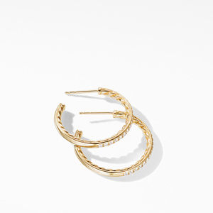 Small Hoop Earrings in 18K Yellow Gold with Pavé Diamonds alternative image