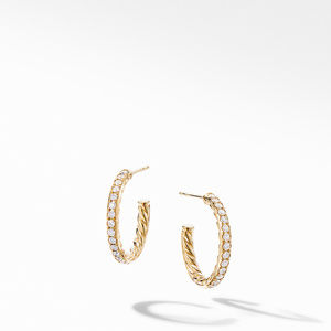 Extra-Small Hoop Earrings in 18K Yellow Gold with Pavé Diamonds
