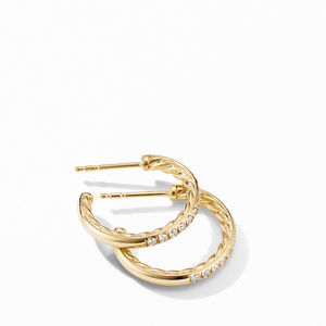 Extra-Small Hoop Earrings in 18K Yellow Gold with Pavé Diamonds alternative image