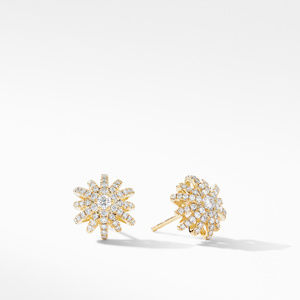 Starburst Small Stud Earrings in 18K Yellow Gold with Pavé Diamonds