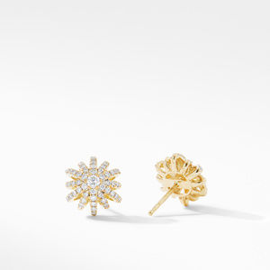 Starburst Small Stud Earrings in 18K Yellow Gold with Pavé Diamonds alternative image