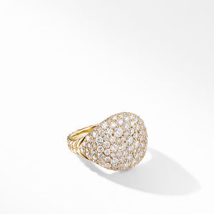 Chevron Pinky Ring in 18K Yellow Gold with Pavé Diamonds