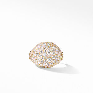 Chevron Pinky Ring in 18K Yellow Gold with Pavé Diamonds alternative image