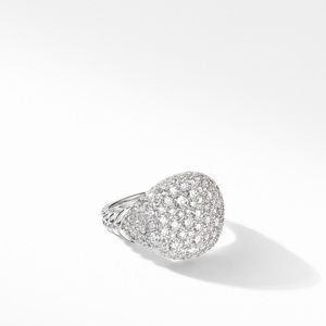 Chevron Pinky Ring in 18K White Gold with Pavé Diamonds