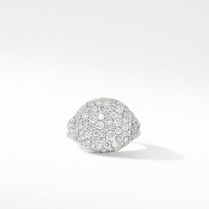 Chevron Pinky Ring in 18K White Gold with Pavé Diamonds alternative image