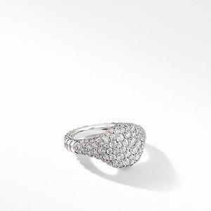 Mini Chevron Pinky Ring in 18K White Gold with Pavé Diamonds