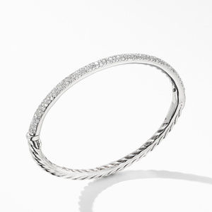 Cable Hinged Bangle Bracelet in 18K White Gold with Pavé Diamonds