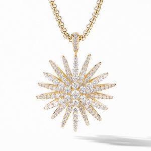Starburst Pendant in 18K Yellow Gold with Full Pavé Diamonds
