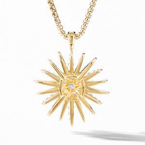 Starburst Pendant in 18K Yellow Gold with Full Pavé Diamonds alternative image