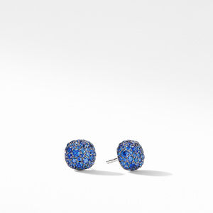 Cushion Stud Earrings in 18K White Gold with Pavé Sapphires