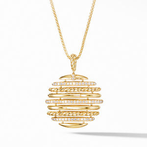 Tides Pendant Necklace in 18K Yellow Gold with Pavé Diamonds