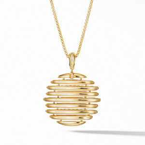 Tides Pendant Necklace in 18K Yellow Gold with Pavé Diamonds alternative image