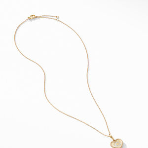 Initial Heart Charm Necklace in 18K Yellow Gold with Pavé Diamonds alternative image