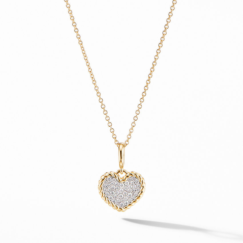 Cable Collectibles® Pavé Plate Heart Charm Necklace in 18K Yellow Gold