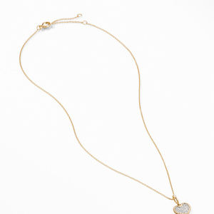 Cable Collectibles® Pavé Plate Heart Charm Necklace in 18K Yellow Gold alternative image