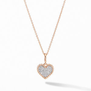 Cable Collectibles® Pavé Plate Heart Charm Necklace in 18K Rose Gold
