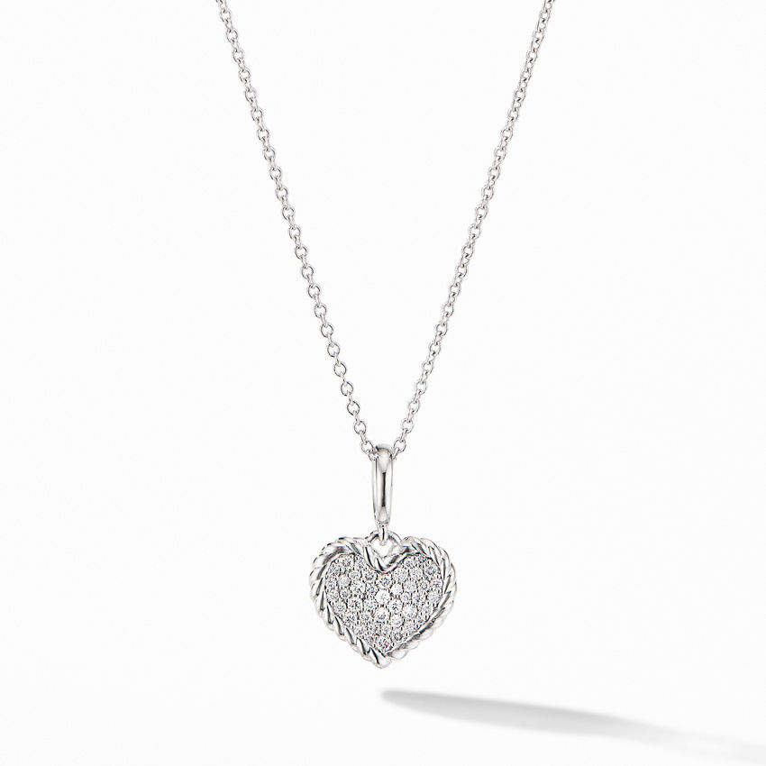 Cable Collectibles® Pavé Plate Heart Charm Necklace in 18K White Gold